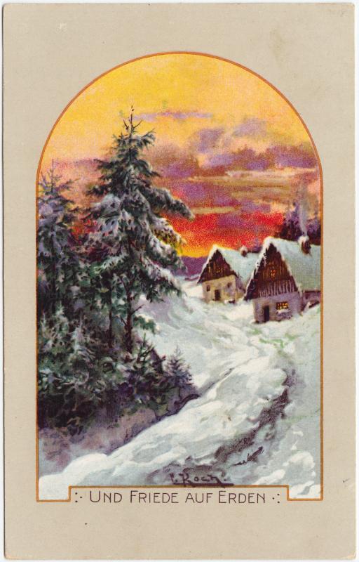 Künstlerkarte: Ansichtskarte  Und Friede auf Erden - Winterpartie im Dorf 1922
