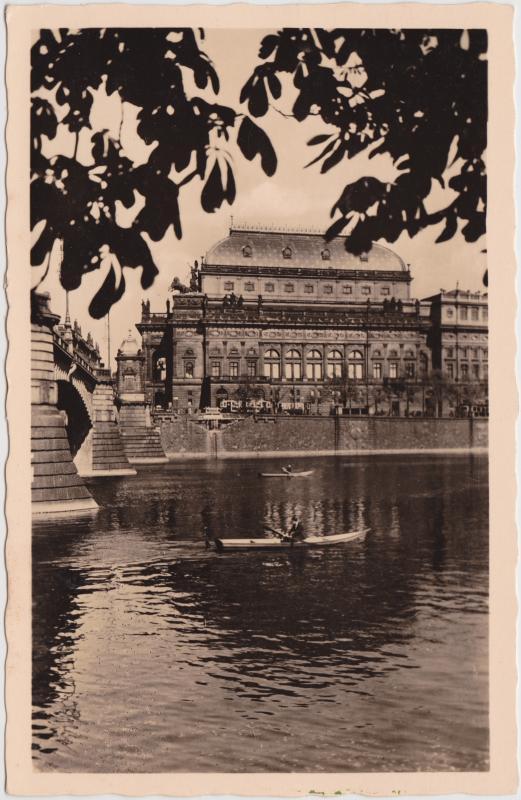Ansichtskarte Prag Praha Böhmisches Nationaltheater 1933