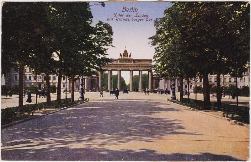 Mitte-Berlin Unter den Linden mit Brandenburger Tor 1915