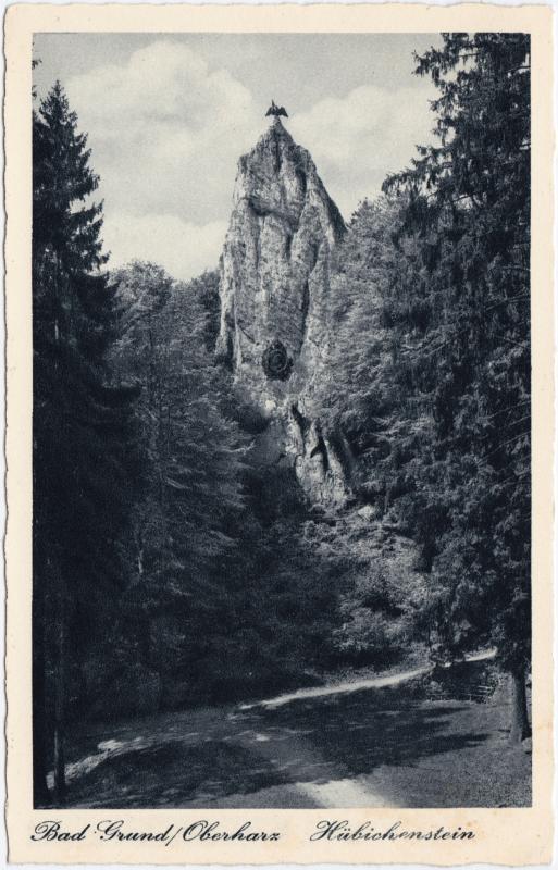 Bad Grund (Harz) Hübichenstein - Waldweg Ansichtskarte b Goslar  1932