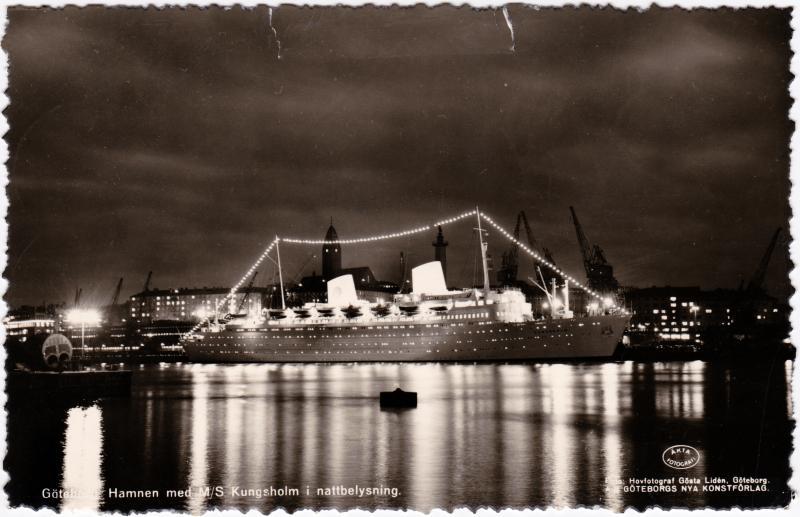 Göteborg Göteborg Hamnen med M/S Kungsholm i nattbelysning 1960