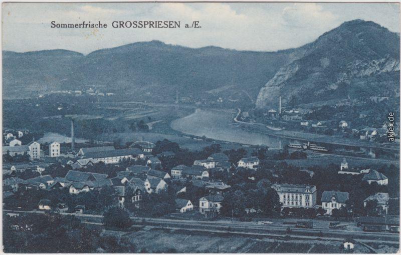 Großpriesen (Elbe) Velké Březno Blick auf Stadt und Bahnanlagen 1925