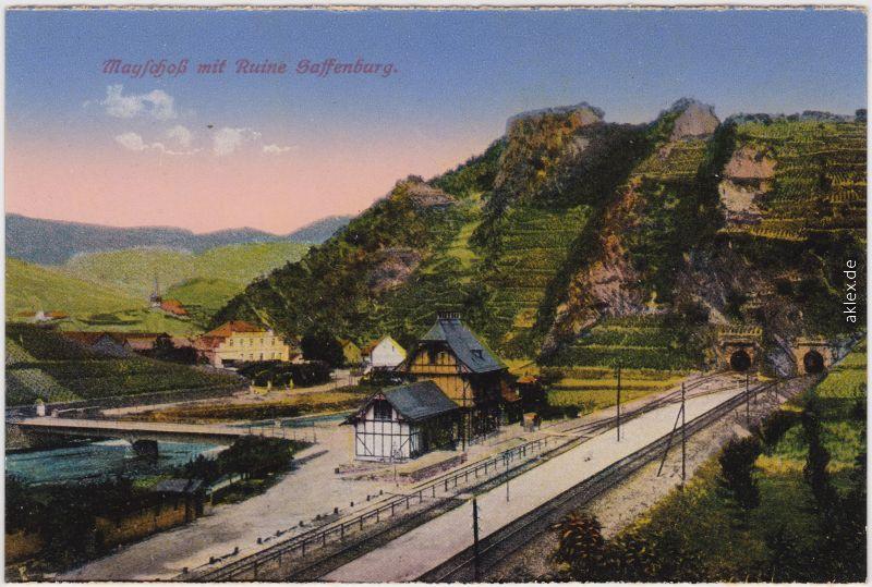 Mayschoß Bahnhof und Burgruine 1914