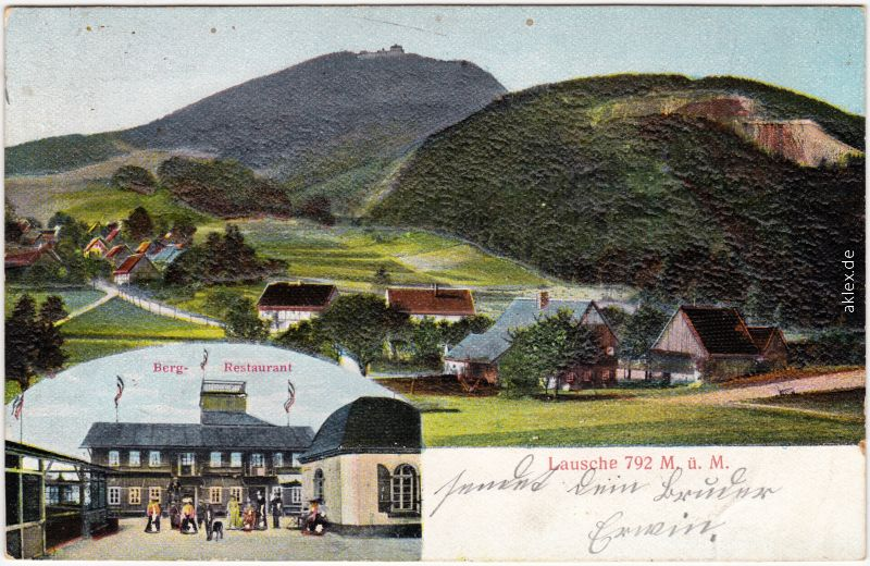 Waltersdorf-Großschönau (Sachsen) Reliefkarte: Lausche mit Berg-Restaurant 1905