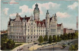 Leipzig Straßenpartie am Neuen Rathaus Ansichtskarte 1910