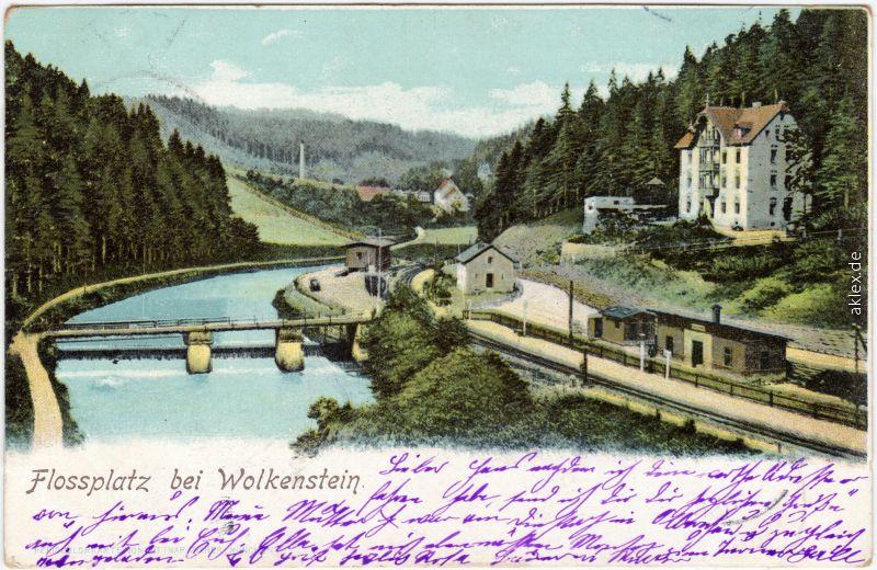 Wolkenstein Bahnhof und Flossplatz 1907