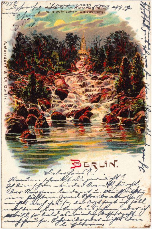 Friedrichshain-Kreuzberg-Berlin Wasserfall Viktoria bei elektrischer Beleuchtung 1906