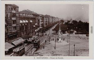 Santander Paseo de Pereda - Winter, Straßenbahn 1940