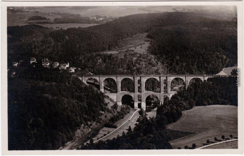 Jocketa-Pöhl Luftbild: Elstertalbrücke 1932