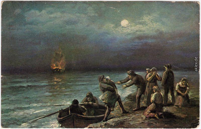 Künstlerkarte: Brennendes Schiff, Gestrandete Menschen mit Rettungsboot 1916