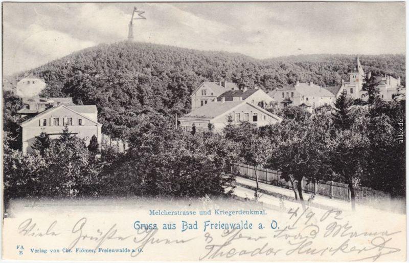 Bad Freienwalde Melcherstraße und Kriegerdenkmal 1902