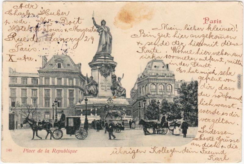 Paris Place de la Republique - Pferdekutschen 1902