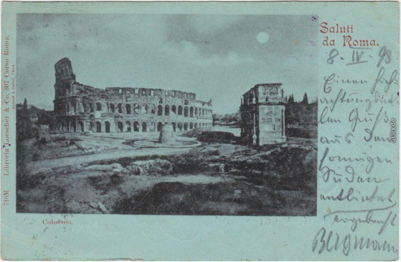 Vintage Postcard Rom Roma Mondscheinlitho - Closeum 1898