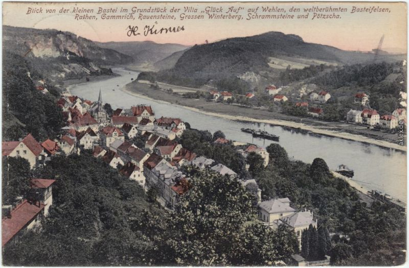 Ansichtskarte Rathen Wehlen Blick auf b Bad Schandau coloriert 1912