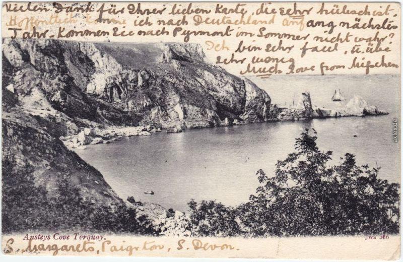 Torquay Ansteys Cove  South West England Vintage Postcard 1904