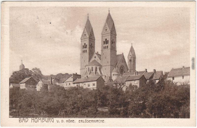 Ansichtskarte Bad Homburg vor der Höhe die Stadt und Erlöserkirche 1908