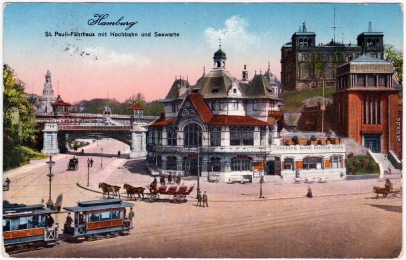Hamburg Fährhaus, Straße und Straßenbahn 1916