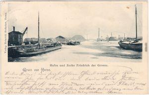 Herne Hafen und Zeche Friedrich der Große 1900