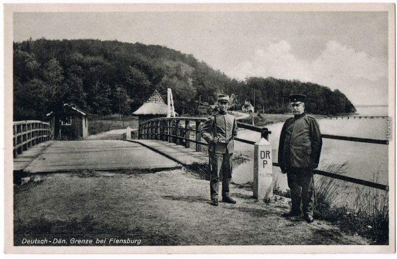 Ansichtskarte Flensburg Grenzsoldaten - Deutsch-Dänische Grenze 1932