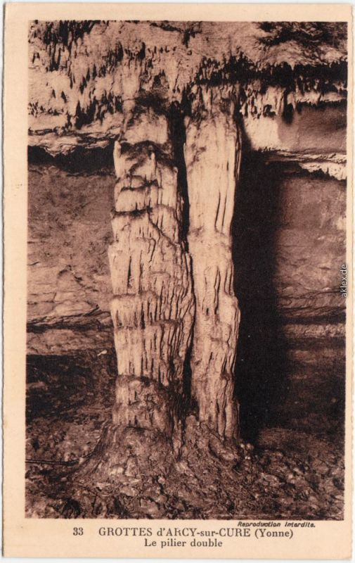 Arcy-sur-Cure Grottes d Arcy - Le pilier double CPA Yonne France 1932