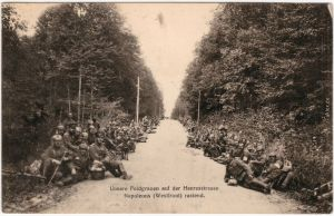 Unsere Feldgrauen auf der Heeresstraße Militaria Frankreich Wk1 1916