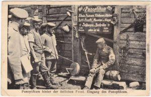 Panoptikum hinter der östlichen Front Ansichtskarte WK1 Militaria 1916