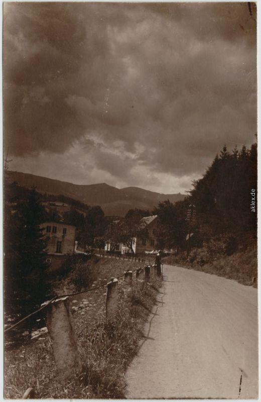 Agnetendorf Hirschberg Riesengbeirge Privatfoto AK Jelenia Góra Ortseingang 1927
