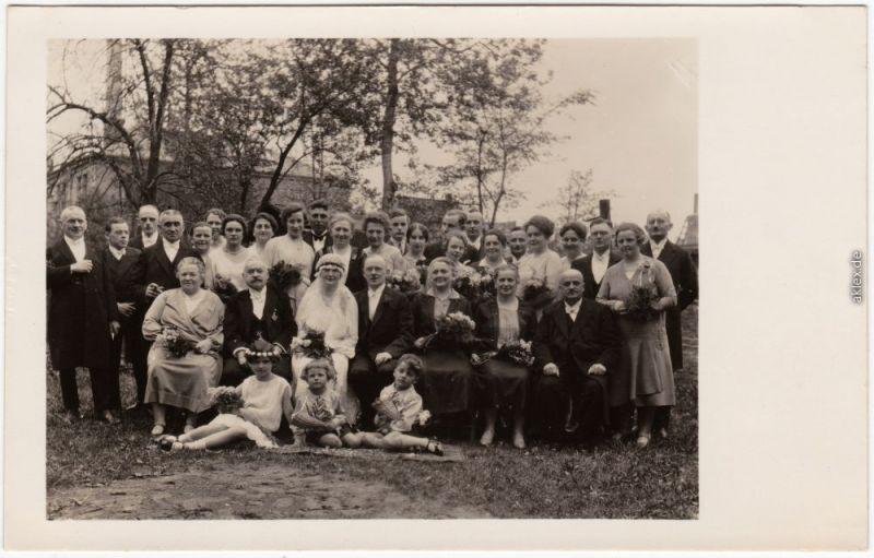 Dresden Drježdźany Gruppenfoto Hochzeit 1929