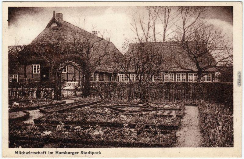 Ansichtskarte Winterhude  Hamburg Milchwirtschaft im Stadtpark 1927
