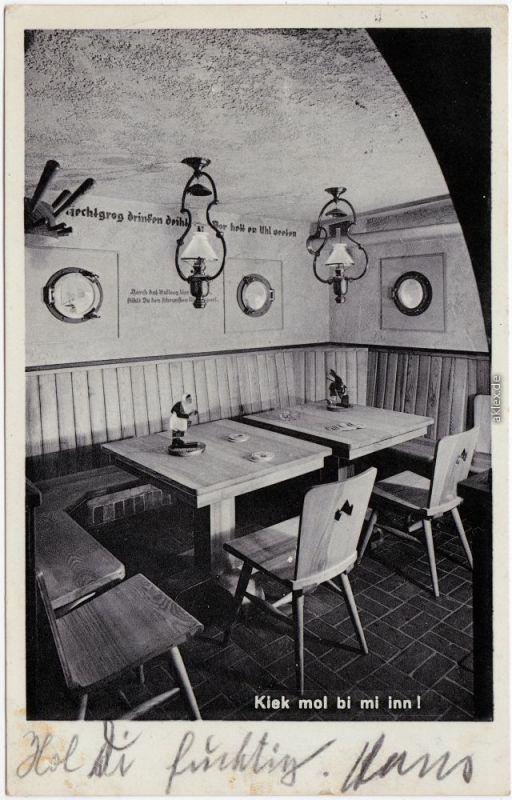 Hamburg Arkaden Kajüte Alsterarkaden innen Ansichtskarte 1933