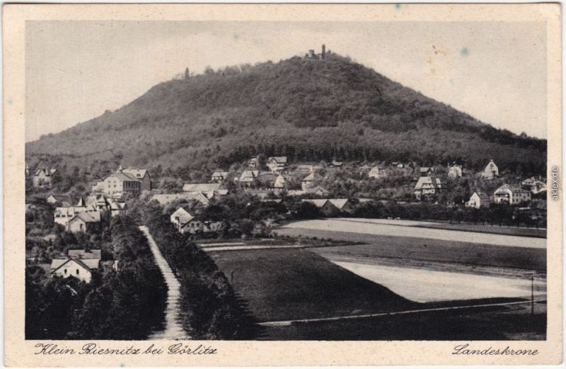 Ansichtskarte Biesnitz Görlitz Zgorzelec Straße, Landeskrone 1932