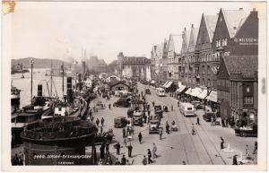 Bergen Bergen Dampfer - Tyskebryggen Postcard Foto Norge1932