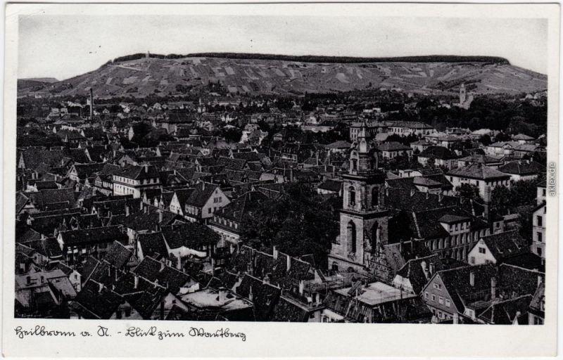 Heilbronn Blick über die Dächer der Stadt Ansichtskarte 1937