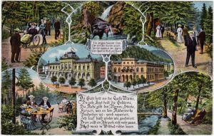 Bad Wildbad Mehrbild: Gebäude und Jagd Ansichtskarte 1928