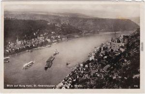 St. Goarshausen Blick auf Burg Katz, St. Goarshausen  St. Goar a. Rhein 1933