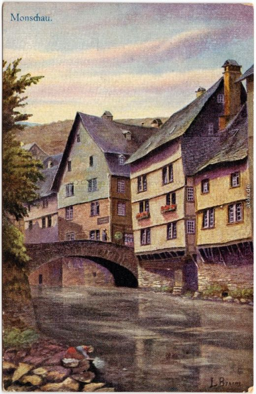 Ansichtskarte Kalterherberg Monschau Eifel  Montjoie Alte Häuser an der Rur 1918