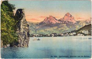 Seelisberg Schillerstein / Mythenstein im Vierwaldstättersee Brunnen Mythen 1914