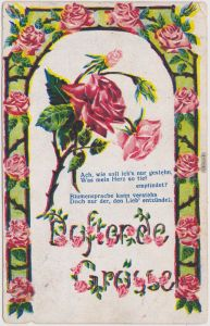 Rosenkarte Blumensprache Künstlerkarte Ansichtskarte  1915