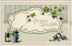 Ein Frohes Neues Jahr: Sektkorken und Kleeblätter, Relief Goldrand 1908
