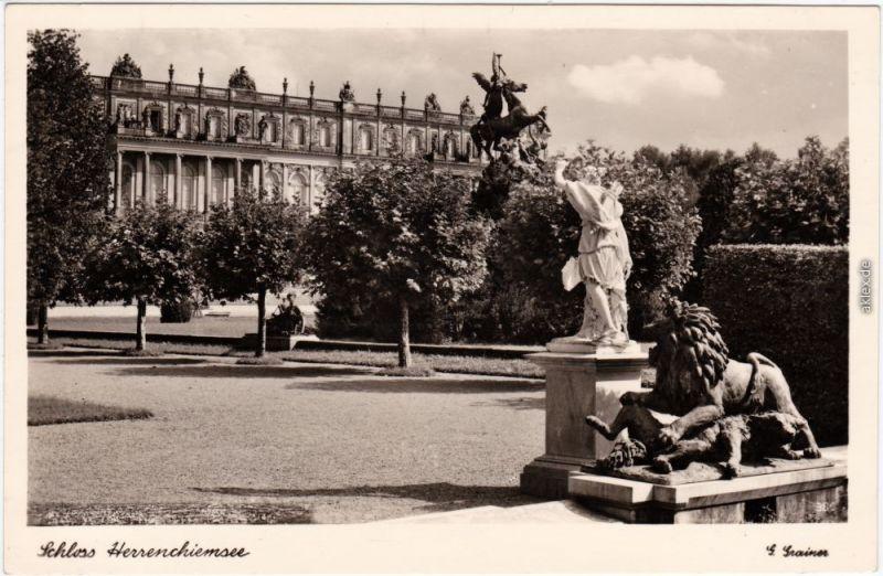 Chiemsee Partie am Schloß Herrenchiemsee Foto Ansichtskarte 1938