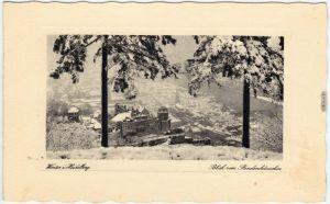 Ansichtskarte Heidelberg Blick vom Rindenhäuschen auf die verschneite Stadt 1928