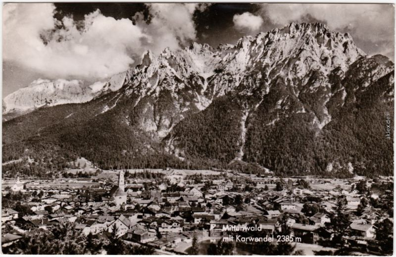 Mittenwald Blick auf die Stadt Foto Ansichtskarte 1965