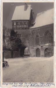 Rothenburg ob der Tauber Partie an der Wolfgangskirche im Winter 1940