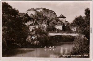 Tübingen Ruderer - Alleenbrücke und Schloß Foto Ansichtskarte 1940
