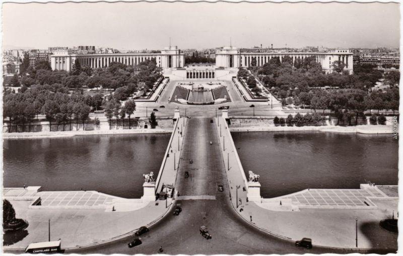 Paris Jardins du Trocadéro et le Palais de Chaillot Fotokarte 1965