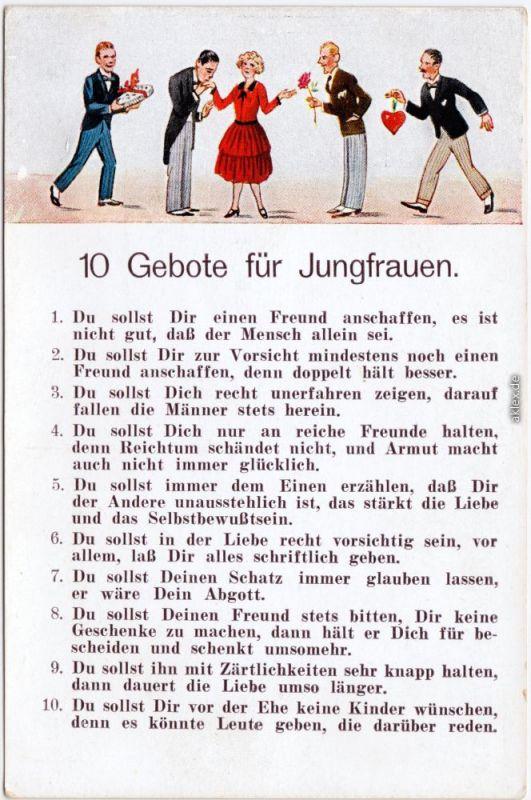 10 Gebote für Jungfrauen  Scherzkarte Ansichtskarte 1930