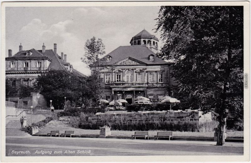 Bayreuth Aufgang zum Altes Schloß Ansichtskarte 1938