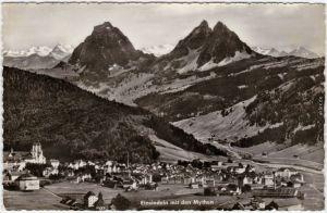 Einsiedeln EInsiedeln mit den Mythen Foto Ansichtskarte Schwyz 1961