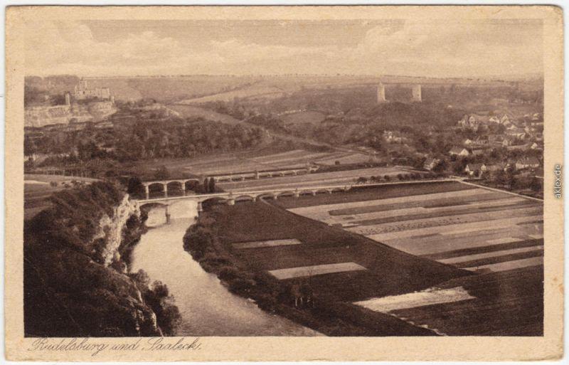 Ansichtskarte Saaleck Bad Kösen Rudelsburg Saaleck - Brücken und Felder 1928