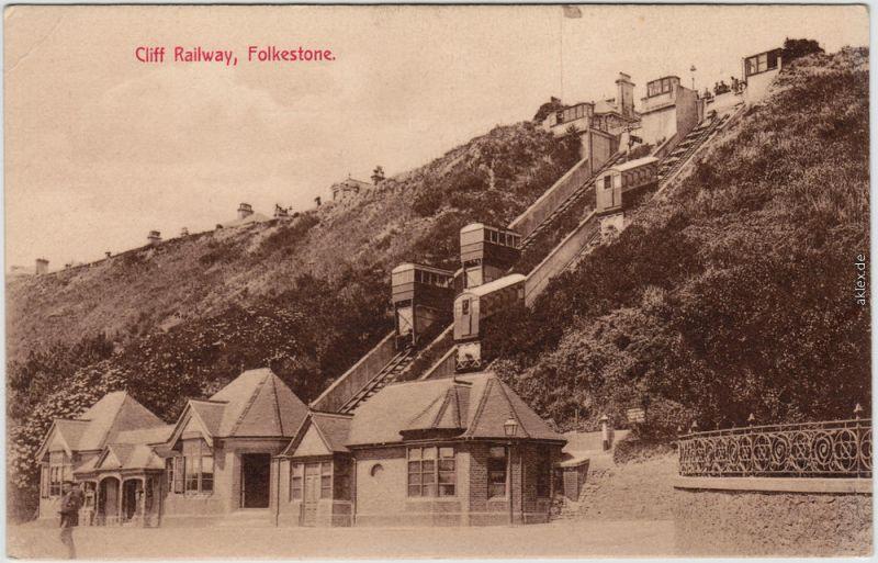 Folkestone Cliff Railway England Postcard Ansichtskarte 1912